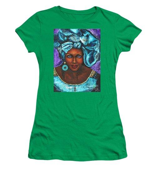 Women's T-Shirt (Junior Cut) featuring the painting Teal Headwrap by Alga Washington