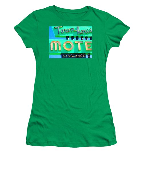 Women's T-Shirt featuring the photograph Town House Motel . No Vacancy by Wingsdomain Art and Photography