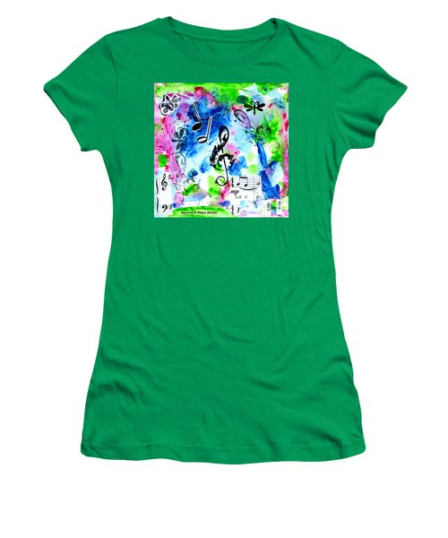 Women's T-Shirt (Junior Cut) featuring the mixed media Treble Mp by Genevieve Esson
