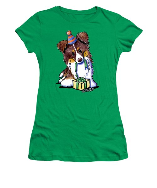 Tri Chocolate Border Collie Women's T-Shirt (Athletic Fit)
