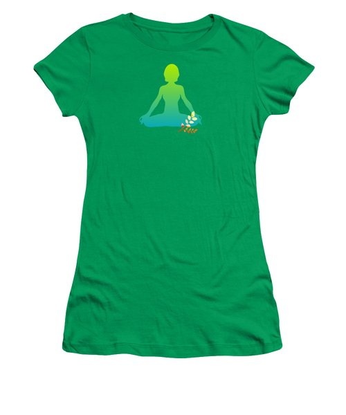Yoga Meditation Pose Abstract Illustration Women's T-Shirt (Athletic Fit)