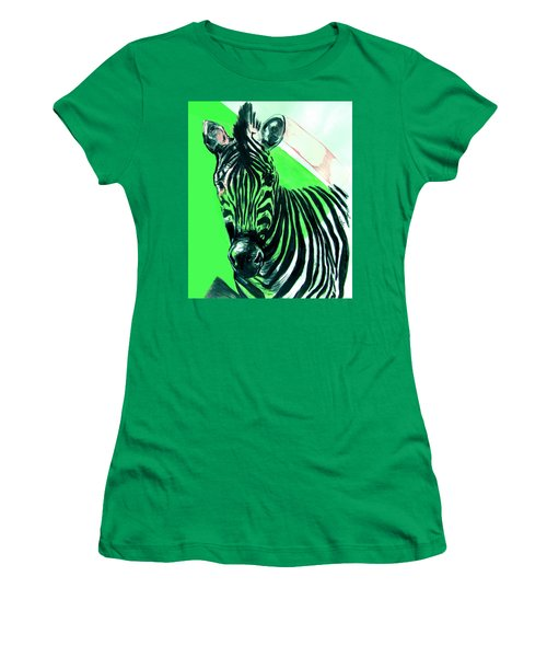 Zebra In Green Women's T-Shirt