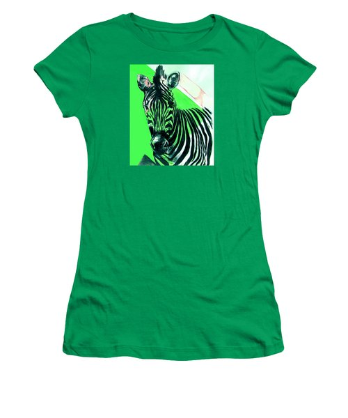 Zebra In Green Women's T-Shirt (Athletic Fit)