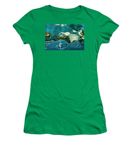 Women's T-Shirt featuring the photograph Abstract Boat Reflection V Color by David Gordon