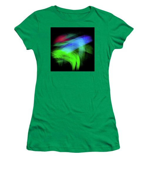 Women's T-Shirt featuring the digital art Green Cat by Darryl Dalton