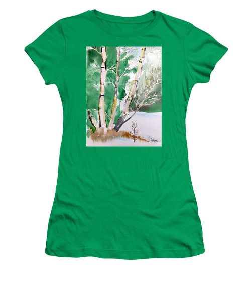 Silver Birch In Snow Women's T-Shirt