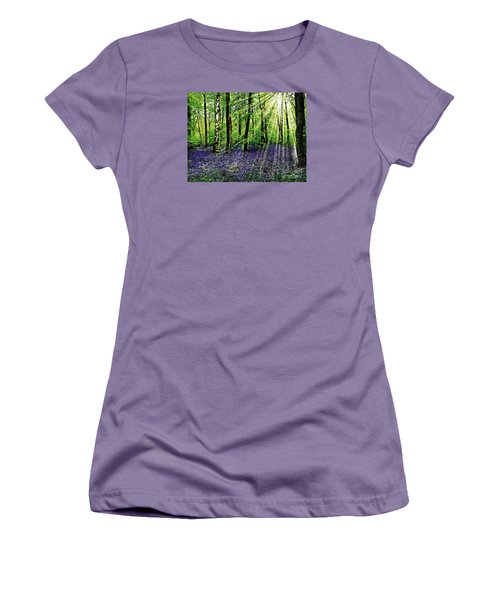 Women's T-Shirt (Junior Cut) featuring the mixed media The Bluebell Woods by Morag Bates