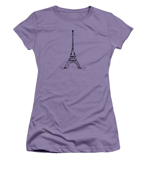 Digital Art Eiffel Tower Pattern Women's T-Shirt (Junior Cut) by Melanie Viola