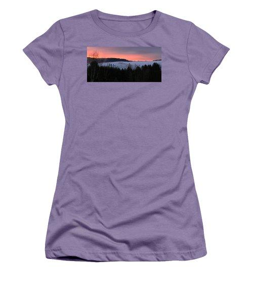 Women's T-Shirt (Junior Cut) featuring the photograph February Oregon Sunrise by Katie Wing Vigil
