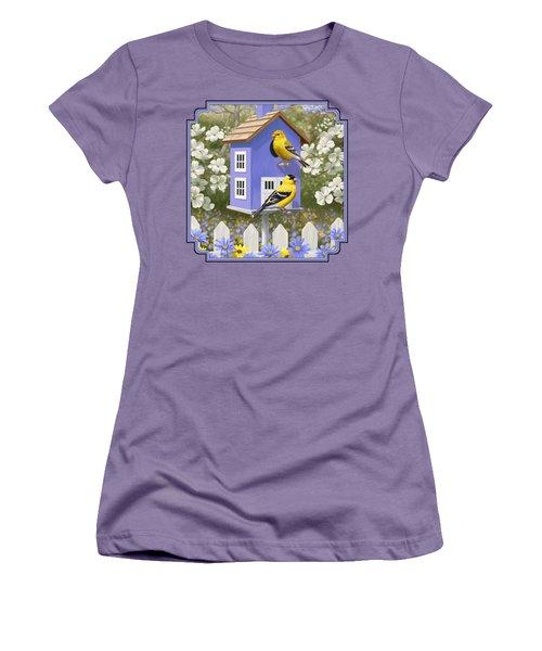 Goldfinch Garden Home Women's T-Shirt (Junior Cut) by Crista Forest