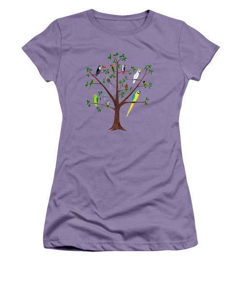Parrot Tree Women's T-Shirt (Junior Cut) by Rita Palmer