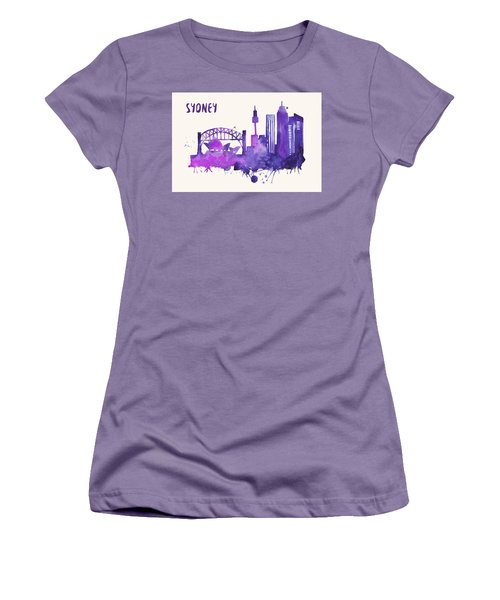 Sydney Skyline Watercolor Poster - Cityscape Painting Artwork Women's T-Shirt (Junior Cut) by Beautify My Walls