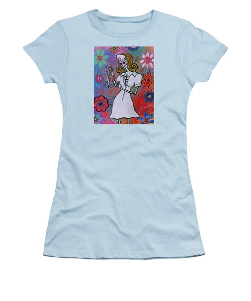 Dia De Los Muertos Nurse Women's T-Shirt (Junior Cut) by Pristine Cartera Turkus