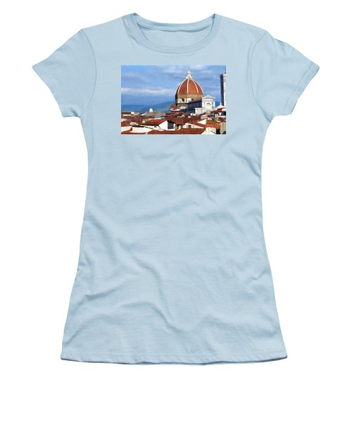 Women's T-Shirt (Junior Cut) featuring the photograph  Duomo Of Florence # 3 by Allen Beatty