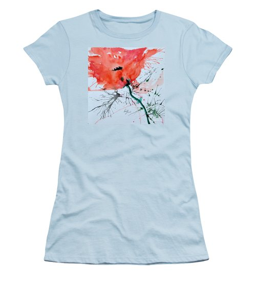 Women's T-Shirt (Junior Cut) featuring the painting  Lonely Poppy by Ismeta Gruenwald