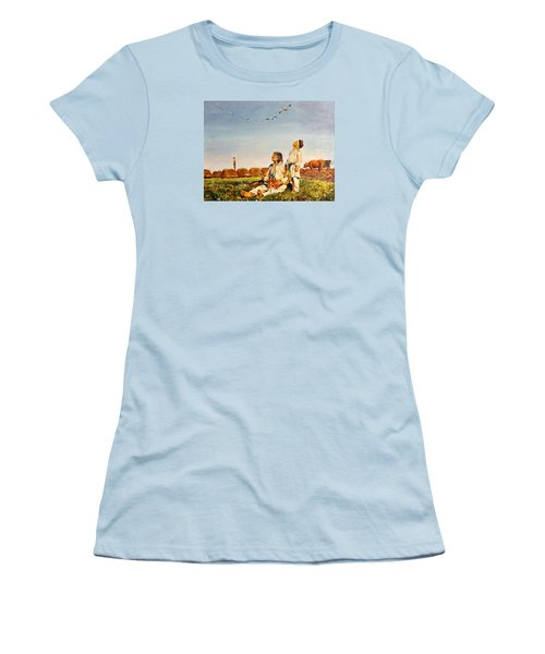 Women's T-Shirt (Junior Cut) featuring the painting End Of The Summer- The Storks by Henryk Gorecki