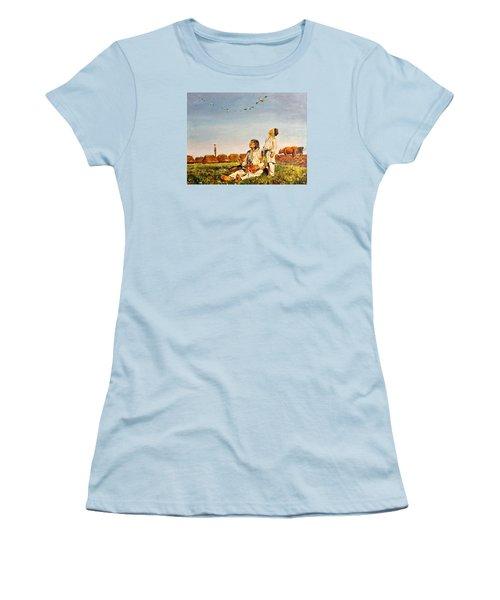 End Of The Summer- The Storks Women's T-Shirt (Junior Cut) by Henryk Gorecki