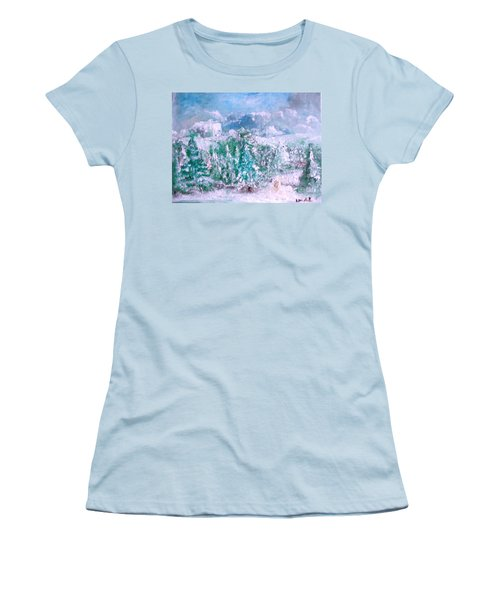 Women's T-Shirt (Junior Cut) featuring the painting A Natural Christmas by Laurie L