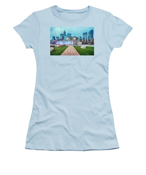 Charlotte City Skyline In The Evening Women's T-Shirt (Athletic Fit)