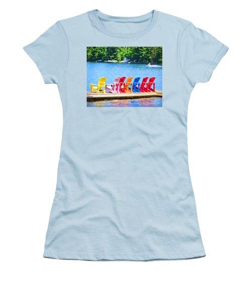 Colorful Chairs Women's T-Shirt (Junior Cut) by Les Palenik