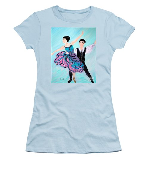 Women's T-Shirt (Junior Cut) featuring the painting Dance. Inspirations Collection. by Oksana Semenchenko
