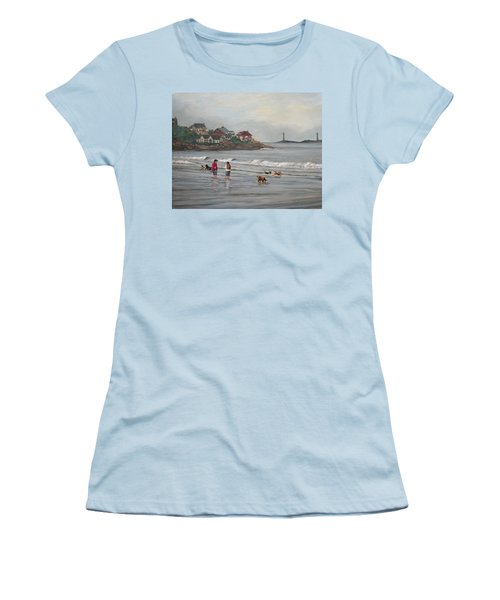 Fog Rolling In On Good Harbor Beach Women's T-Shirt (Junior Cut) by Eileen Patten Oliver