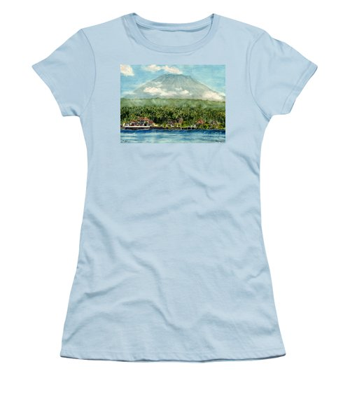 Women's T-Shirt (Junior Cut) featuring the painting Mt. Agung Bali Indonesia by Melly Terpening