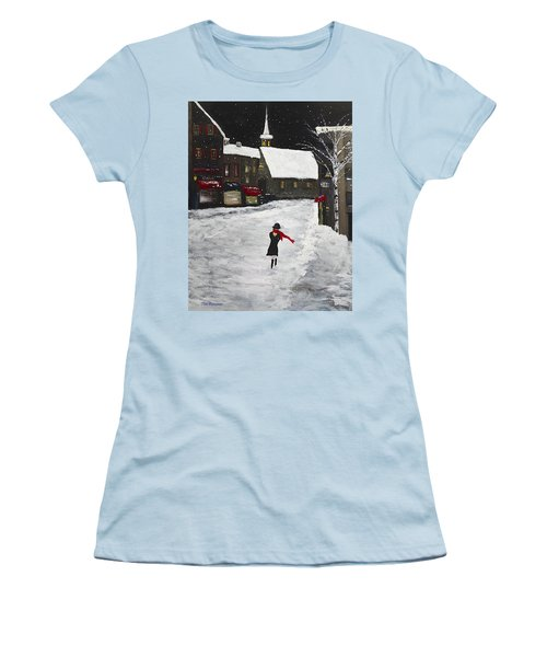 Red Scarf Winter Scene Women's T-Shirt (Athletic Fit)