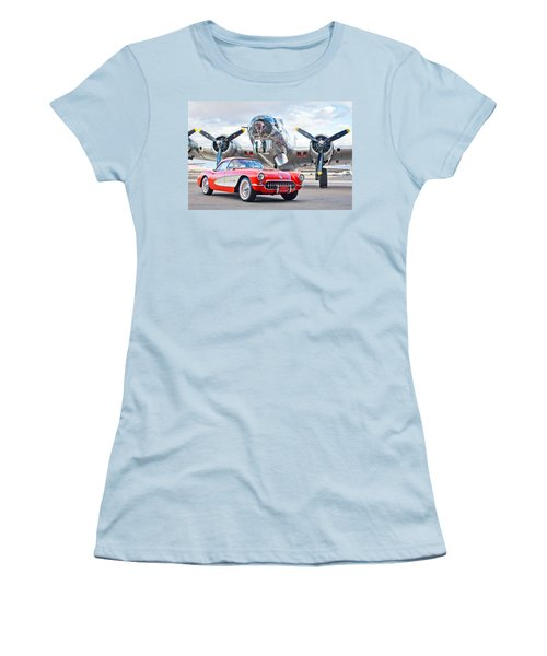 1957 Chevrolet Corvette Women's T-Shirt (Junior Cut) by Jill Reger