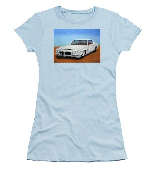 Women's T-Shirt (Junior Cut) featuring the painting 1972 Pontiac Gto by Thomas J Herring