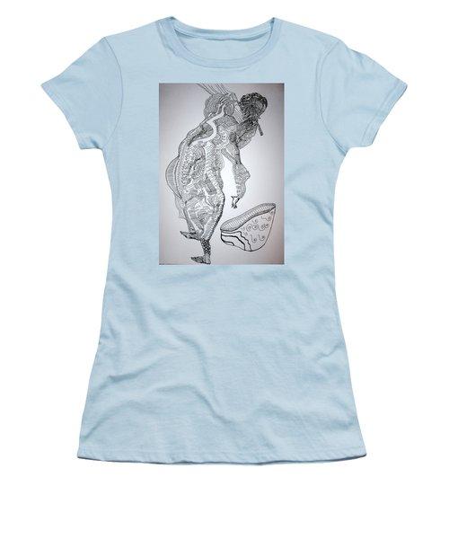 Women's T-Shirt (Junior Cut) featuring the drawing Bakiga Dance - Uganda by Gloria Ssali