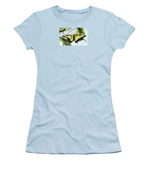 Women's T-Shirt (Junior Cut) featuring the painting Male Eastern Tiger Swallowtail by Angela Davies