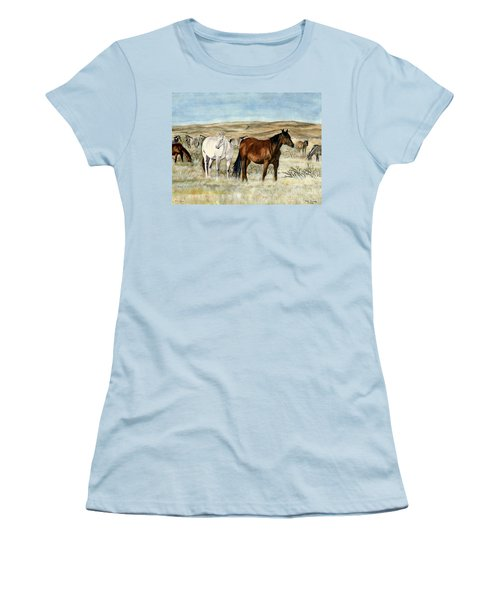Women's T-Shirt (Junior Cut) featuring the painting Nine Horses by Melly Terpening