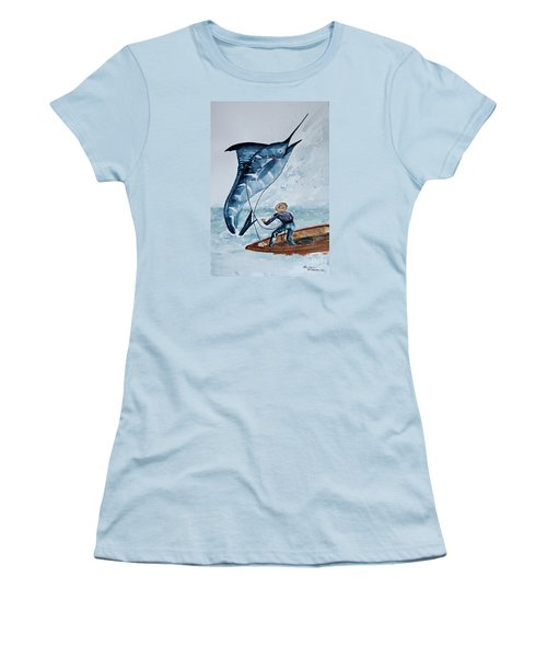 Old Man And The Sea Women's T-Shirt (Junior Cut) by Barbara McMahon