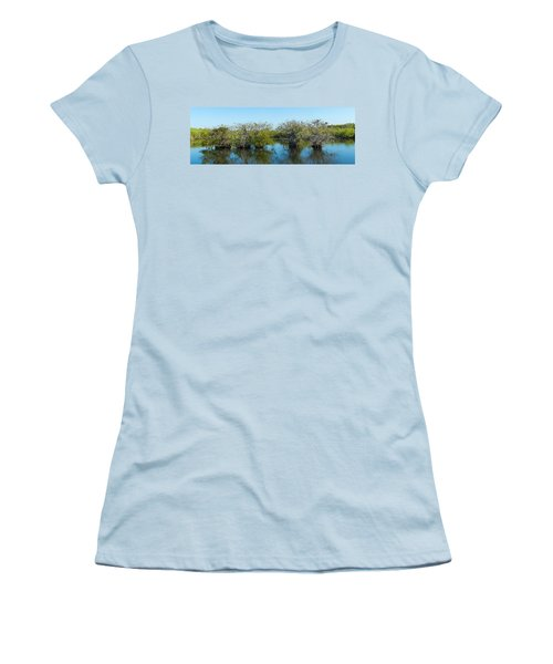 Reflection Of Trees In A Lake, Anhinga Women's T-Shirt (Athletic Fit)