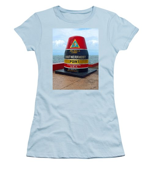 Southernmost Point Key West - 90 Miles To Cuba Women's T-Shirt (Junior Cut) by Rebecca Korpita