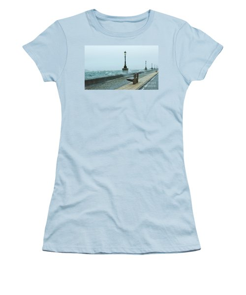 A Grey Wet Day By The Sea Women's T-Shirt (Athletic Fit)