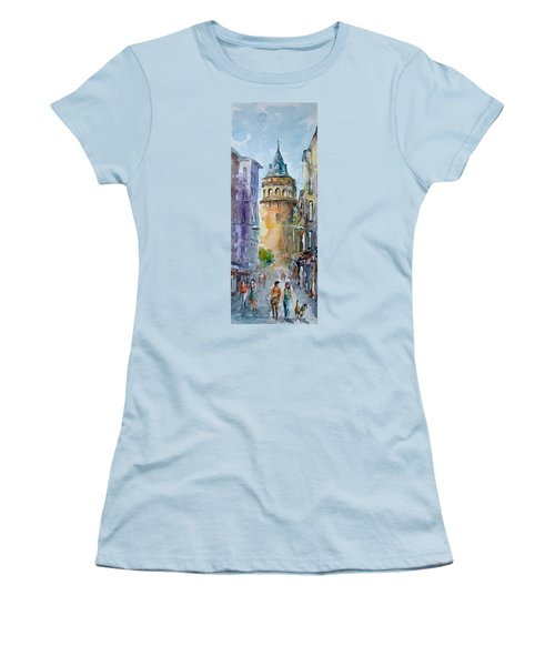 A Walk Around Galata Tower - Istanbul Women's T-Shirt (Athletic Fit)