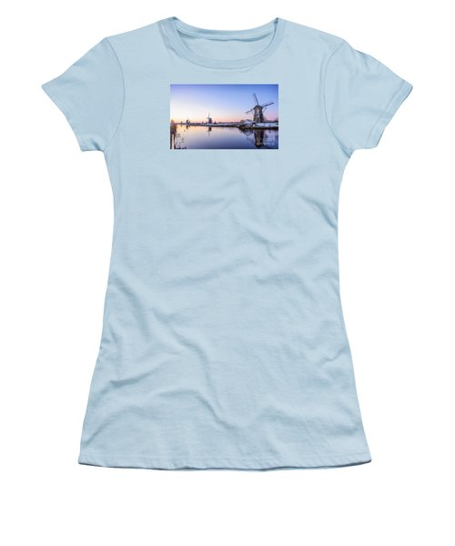A Cold Winter Morning With Some Windmills In The Netherlands Women's T-Shirt (Junior Cut) by IPics Photography