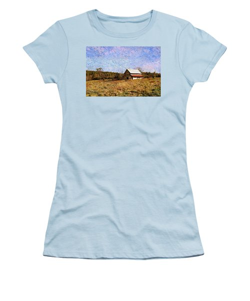 Women's T-Shirt (Junior Cut) featuring the photograph Abandoned Barn In North Georgia by Vizual Studio