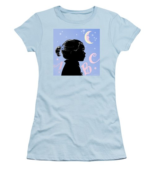 Women's T-Shirt (Junior Cut) featuring the painting Abc - The Moon And Me by Carol Jacobs