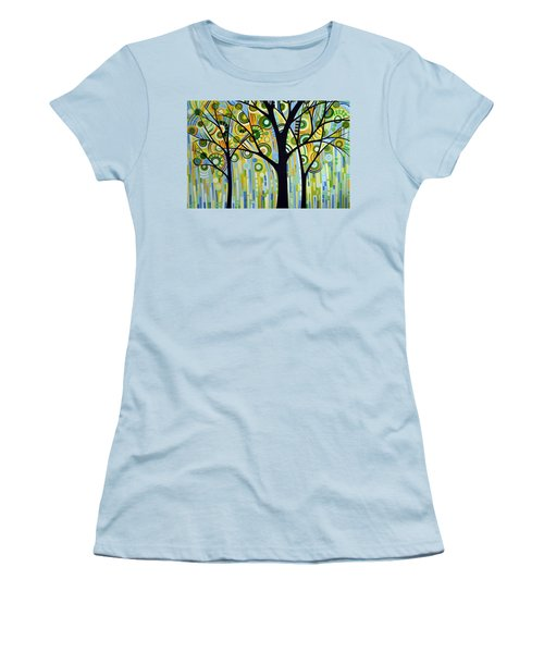 Abstract Modern Tree Landscape Spring Rain By Amy Giacomelli Women's T-Shirt (Junior Cut) by Amy Giacomelli