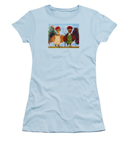 Women's T-Shirt (Junior Cut) featuring the painting American Gothic Down On The Farm - A Parody by Eloise Schneider