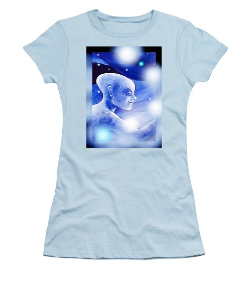 Women's T-Shirt (Junior Cut) featuring the painting Angel Portrait by Hartmut Jager