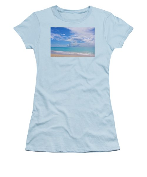 Antigua View Of Montserrat Volcano Women's T-Shirt (Junior Cut) by Olga Hamilton