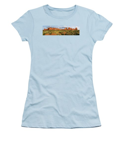 Arches National Park Panorama Women's T-Shirt (Junior Cut) by Dave Mills