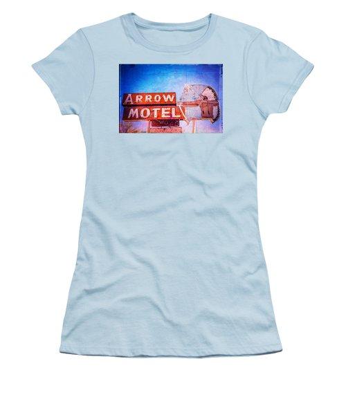 Women's T-Shirt (Junior Cut) featuring the photograph Arrow Motel by Steven Bateson