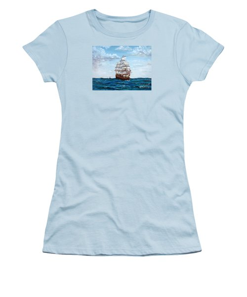 Women's T-Shirt (Junior Cut) featuring the painting Atlantic Crossing  by Lee Piper