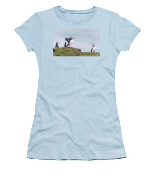 Atlantic Puffins Fratercula Arctica Women's T-Shirt (Junior Cut) by Panoramic Images