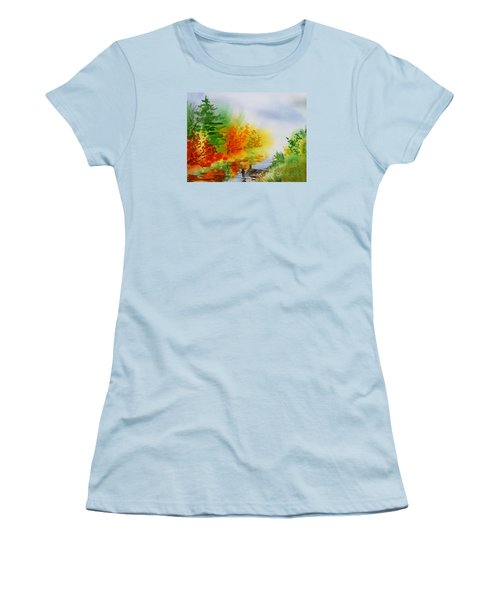 Women's T-Shirt (Athletic Fit) featuring the painting Autumn Burst Of Fall Impressionism by Irina Sztukowski